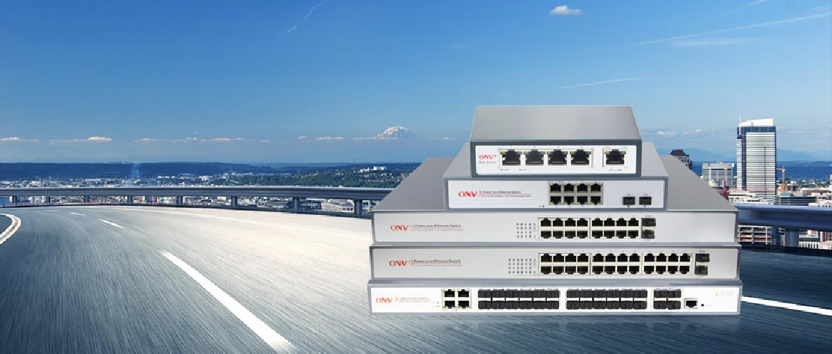 ONV PoE switch for HDV networking nonitoring, One-stop remote control, and management.