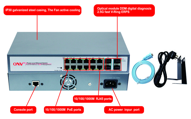 16-port 10G uplink managed PoE switch,16-port managed PoE switch,PoE switch